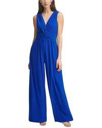 Vince Camuto Shirred Wrap-front Jumpsuit - Blue