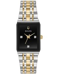 Bulova - Modern Diamond-accent Two-tone Stainless Steel Bracelet Watch 20.5x32mm, Created For Macy's - Lyst