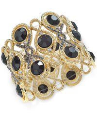 INC International Concepts | Gold-tone Jet Stone And Crystal Filigree Stretch Bracelet | Lyst