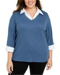 Karen Scott Plus Size Layered Cotton Top, Created For Macy's - Blue