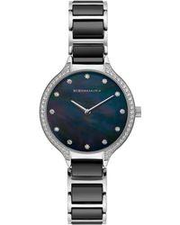 BCBGMAXAZRIA Ladies Stainless Steel And Black Ceramic Bracelet Watch With Black Dial, 34mm
