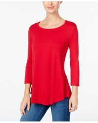 Macy's Jm Collection Scoop-neck Top, Created For - Red