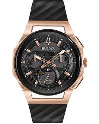 Bulova - Men's Chronograph Curv Diamond-accent Black Rubber Strap Watch 44mm - Lyst