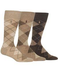 Polo Ralph Lauren Socks, Dress Argyle Crew 3 Pack Socks - Natural