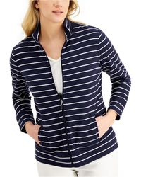 Karen Scott Petite Striped Mock-neck Zip-front Jacket, Created For Macy's - Blue
