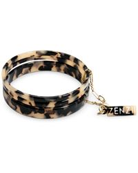Zenzii Gold-tone/acetate 3-pc. Set Bangle Bracelets - Brown