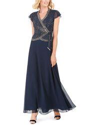J Kara Embellished Side-tie Gown - Blue
