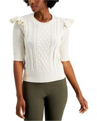 Charter Club Ruffle-trim Cable-knit Top, Created For Macy's - Multicolor