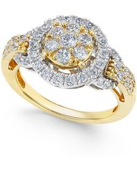 Macy's - Diamond Two-tone Ring (1 Ct. T.w.) In 14k Gold And White Gold - Lyst