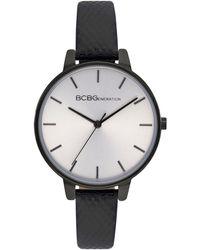 BCBGeneration Ladies 3 Hands Slim Black Genuine Leather Strap Watch, 36 Mm Case