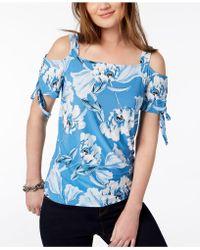 07eb9d3856fd6 Lyst - Inc International Concepts Petite Lace-up Blouse in Blue
