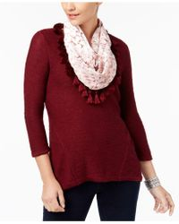 Style & Co. - High-low Knit Top & Velvet Scarf - Lyst