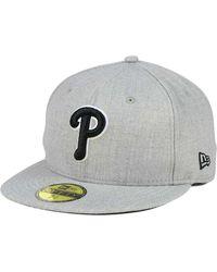 54c317a8b3961 KTZ - Philadelphia Phillies Heather Black White 59fifty Fitted Cap - Lyst