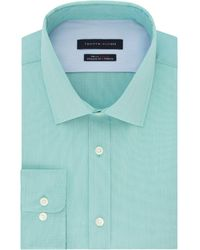 Tommy Hilfiger Flex Collar With Cooling Fabric Athletic Fit Non-iron Performance Stretch Dress Shirt - Blue