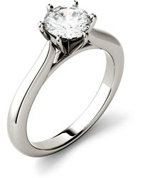 Charles & Colvard Moissanite Solitaire Engagement Ring 1 Ct. T.w. Diamond Equivalent In 14k White Gold Or 14k Yellow Gold - Metallic