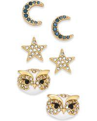 Kate Spade - 14k Gold-plated 3-pc. Set Pavé Night Sky Stud Earrings - Lyst