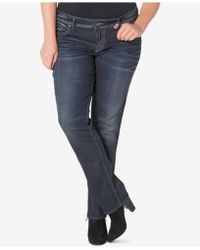Silver Jeans Co. - Trendy Plus Size Slim Bootcut Jeans, Dark Blue Wash - Lyst