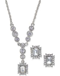 Charter Club - Silver-tone Crystal Pendant Necklace And Matching Stud Earrings Set - Lyst