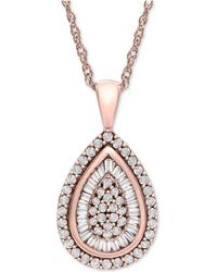 Wrapped in Love - Tm Diamond Teardrop Pendant Necklace In 14k White Gold (1/2 Ct. T.w.), Created For Macy's - Lyst