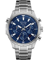Bulova Men's Chronograph Marine Star Stainless Steel Bracelet Watch 43mm 96b256 - Metallic