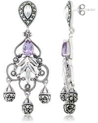 Macy's Amethyst (1 Ct. T.w.) & Marcasite Chandelier Earrings In Sterling Silver - Metallic