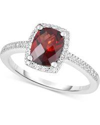 Macy's - Peridot (1-1/4 Ct. T.w.) & Diamond (1/8 Ct. T.w.) Ring In 14k White Gold (also In Rhodolite Garnet, Blue Topaz & Amethyst) - Lyst