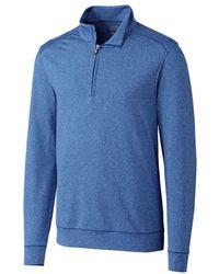 Cutter & Buck Big & Tall Shoreline Half Zip Sweatshirt - Blue