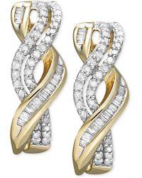 Macy's - Diamond Twist Earrings In 14k Gold (1/2 Ct. T.w.) - Lyst