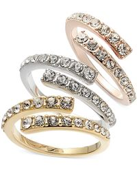 INC International Concepts Inc Tri-tone 3-pc. Set Crystal Bypass Stackable Rings, Created For Macy's - Multicolor