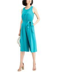 Nine West Belted Cropped Jumpsuit - Blue