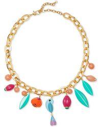 "Kate Spade Gold-tone Multicolor Charm Collar Necklace, 18"" + 2"" Extender - Metallic"