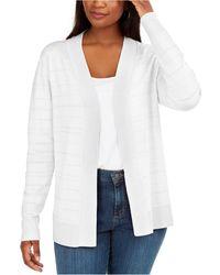 Karen Scott Pointelle Open-front Cardigan, Created For Macy's - White