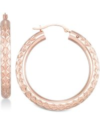Signature Gold Diamond Accent Textured Hoop Earrings In 14k Rose Gold Over Resin, Created For Macy's - Metallic