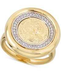 Macy's Diamond Coin Statement Ring (1/4 Ct. T.w.) In 18k Gold-plated Sterling Silver - Metallic