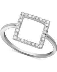 Macy's - Diamond Square Ring (1/10 Ct. T.w.) In Sterling Silver - Lyst
