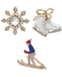 Anne Klein - Gold-tone 3-pc. Set Crystal Winter Sports Pins, Created For Macy's - Lyst