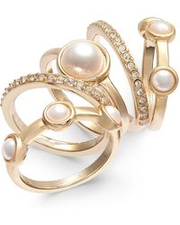 INC International Concepts Inc Gold-tone 5-pc. Set Pavé & Imitation Pearl Stackable Rings, Created For Macy's - Metallic