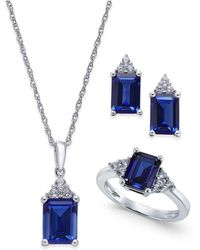 Macy's - Lab-created Sapphire (5 Ct. T.w.) And White Sapphire (3/8 Ct. T.w.) Jewelry Set In Sterling Silver - Lyst