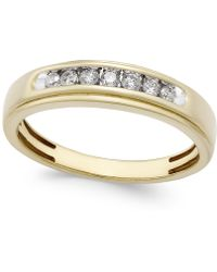 Macy's - Men's Diamond Band (1/4 Ct. T.w.) In 10k Gold - Lyst