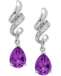 Macy's - Amethyst (1-9/10 Ct. T.w.) And Diamond Accent Squiggle Earrings In Sterling Silver - Lyst