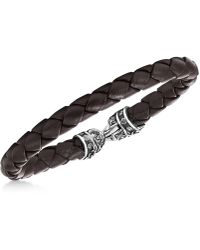 Scott Kay - Men's Brown Woven Leather Bracelet - Lyst