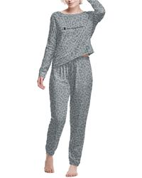 Champion Long-sleeve Top & Jogger Pants Pajama Set - Gray