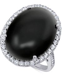 Macy's Onyx (20 X 15mm) & Swarovski Zirconia Statement Ring In Sterling Silver - Metallic
