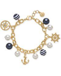 Charter Club - Gold-tone Crystal, Imitation Pearl & Bead Nautical Charm Bracelet, Created For Macy's - Lyst