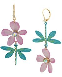 Betsey Johnson Dragonfly Mismatch Earrings - Multicolor