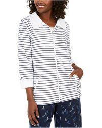 Karen Scott Striped Jacket, Created For Macy's - White