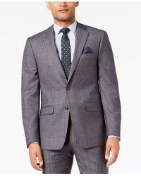 Sean John - Slim-fit Stretch Gray/blue Windowpane Suit Jacket - Lyst