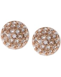 Givenchy Earrings, Rose Gold-tone Crystal Button Earrings - Pink