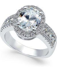 Arabella - Swarovski Zirconia Oval Halo Ring In Sterling Silver - Lyst