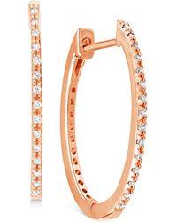 "Macy's Diamond Small Skinny Hoop Earrings (1/10 Ct. T.w.) In 10k Rose Gold, 0.75"" - Metallic"